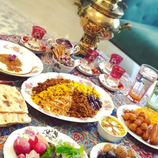 Adas polo, Salad Shirazi,samavar, and sabzi khordan