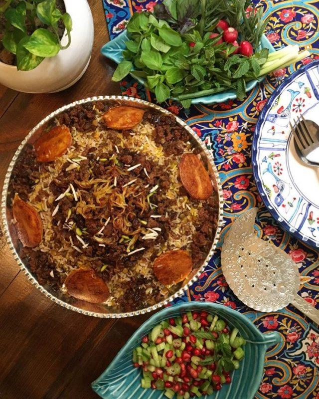 Adas polo, Salad Shirazi, and sabzi khordan