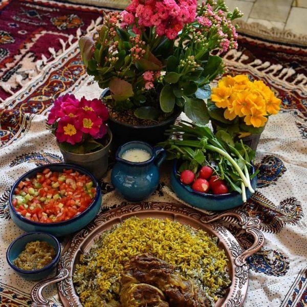 Baghali Polo with salad shirazi