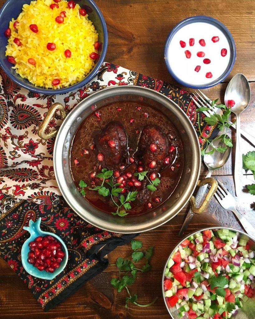Fesenjan and Salad Shirazi