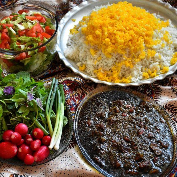 Ghormeh Sabzi, Polow, Sabzi Khordan, and Salad Shirazi