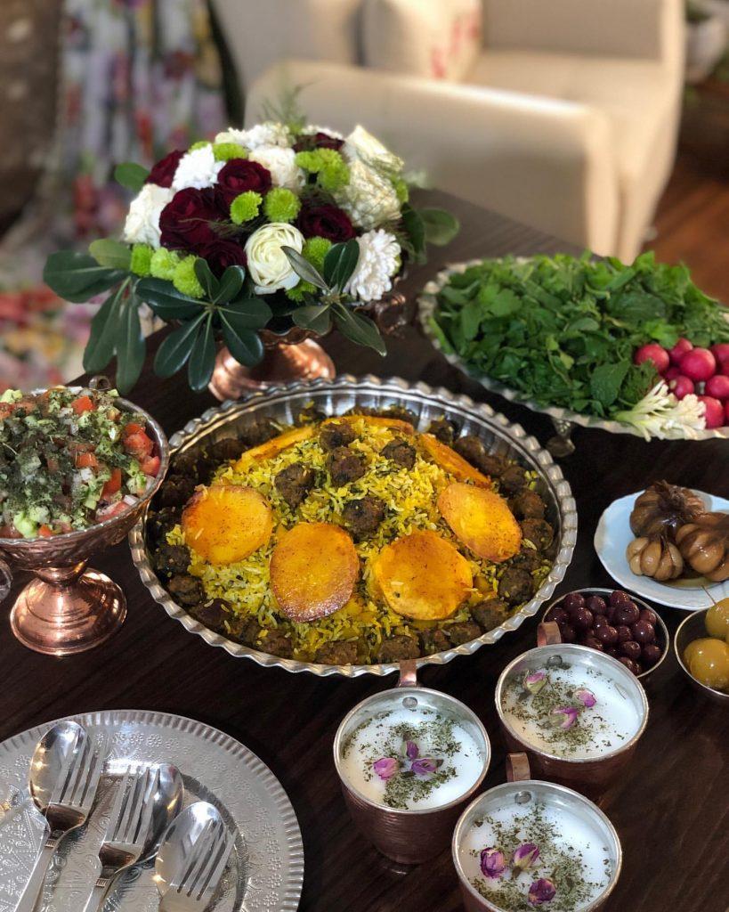 Kalam Polo with Salad Shirazi
