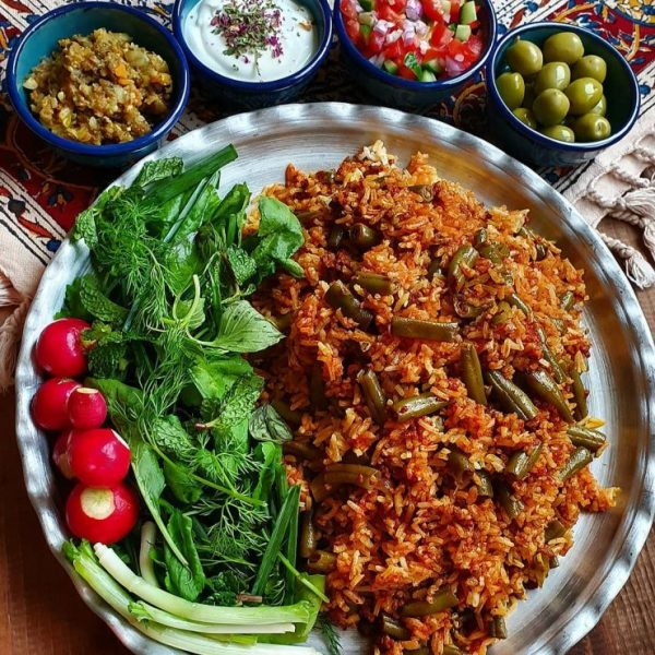Loobia Polo with salad shirazi