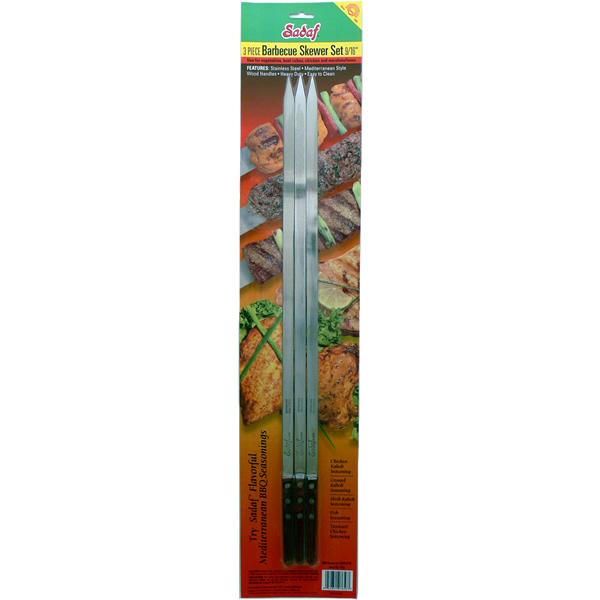 Sadaf BBQ Skewers Medium - Wooden Handles - Set of 3