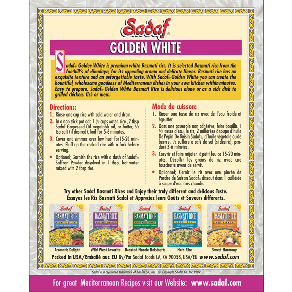 Sadaf Basmati Rice Golden White 16-1 oz.