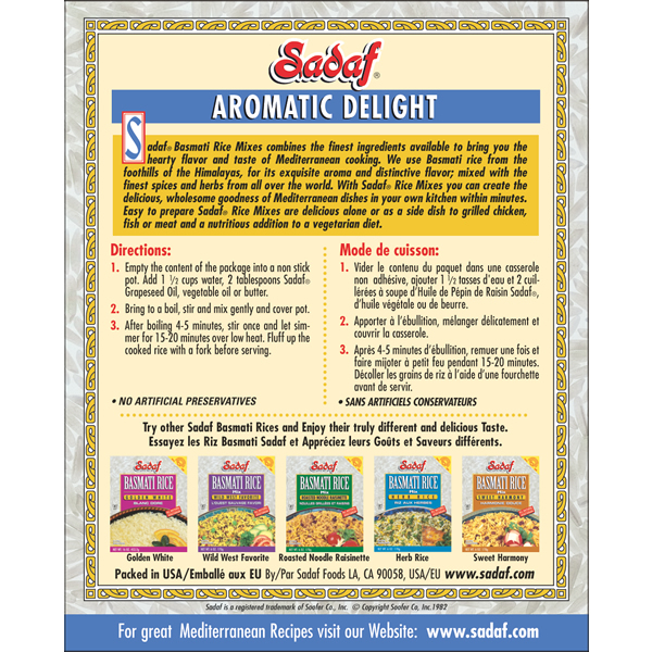 Sadaf Basmati Rice Mix Aromatic Delight 6 oz.