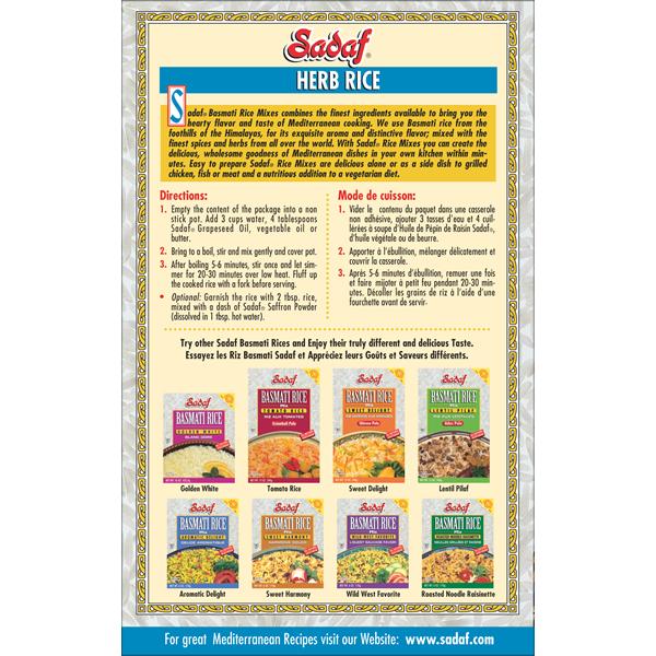 Sadaf Basmati Rice Mix Herb Rice - Sabzi Polo 12-1 oz.