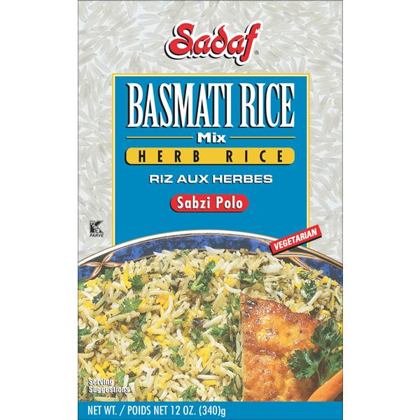 Sadaf Basmati Rice Mix Herb Rice - Sabzi Polo 12 oz.