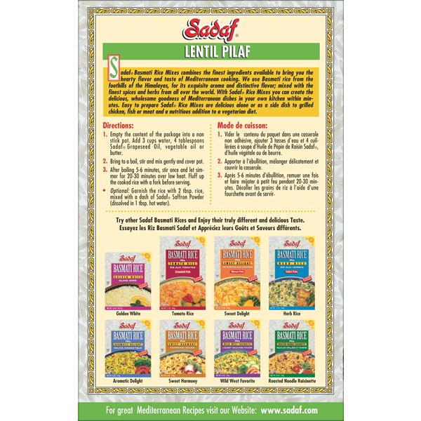 Sadaf Basmati Rice Mix Lentils Pilaf - Adas Polo 12 oz.