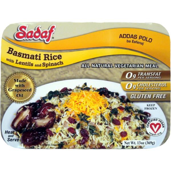 Sadaf Basmati Rice with Lentils & Spinach - Adass Polo 15 oz.