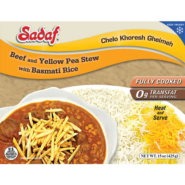 Sadaf Beef and Yellow Split Pea Stew with Basmati Rice 15 oz.
