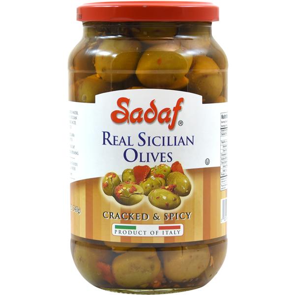 Sadaf Real Sicilian Olives - Cracked & Spicy 12 oz.