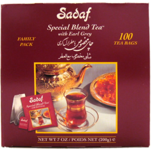 Sadaf Special Blend Tea Earl Grey 100 Tea Bags Family Pack Foil Wrapping