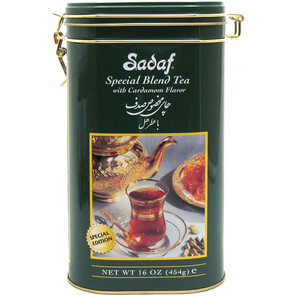 Sadaf Special Blend Tea with Cardamon Flavor Tin 16 oz.
