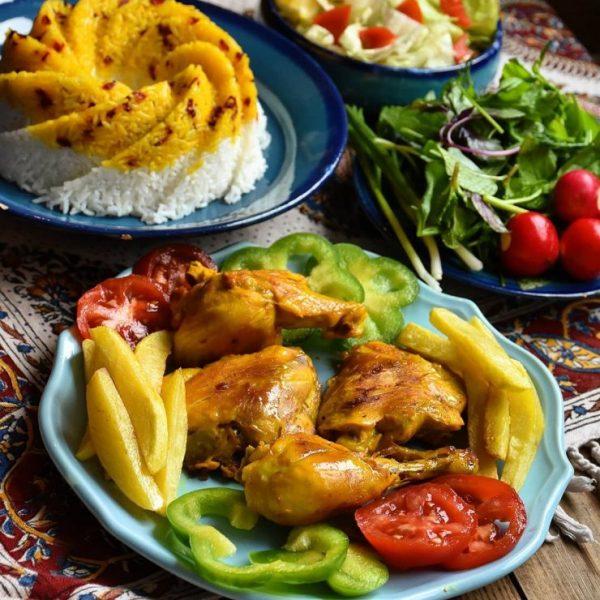 Zereshk Polo Morgh and salad