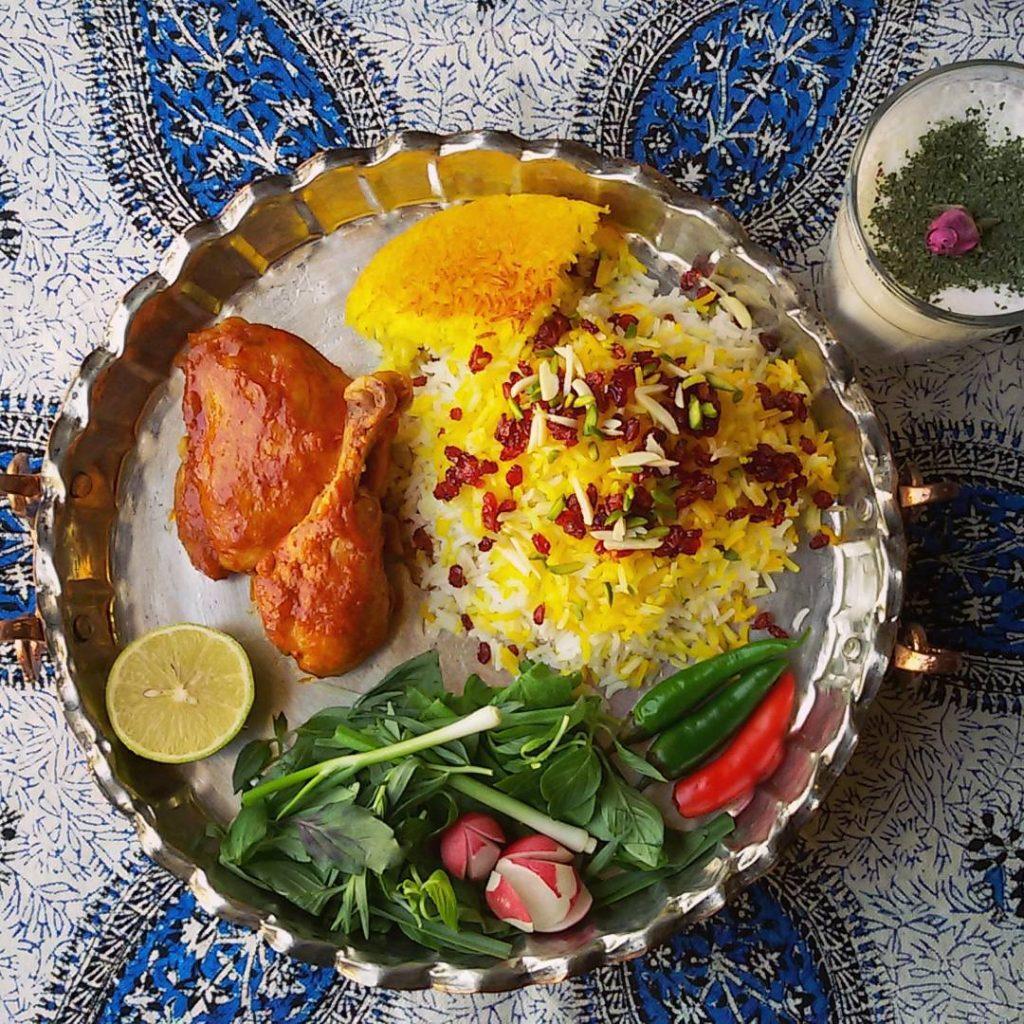 Zereshk Polo Morgh and sabzi khordan