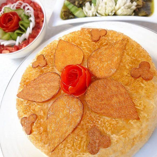 Potato Tahdig with rice