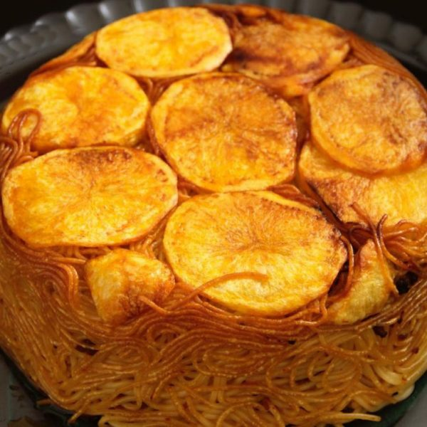 Potato Tahdig with Persian Macaroni